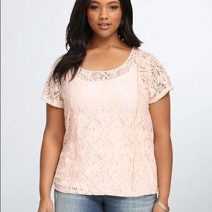 Torrid Pink Blush Floral Lace Top Size 5X